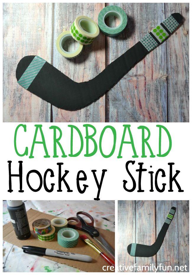Cardboard Hockey Stick Craft Creative Family Fun Hockey Stick Crafts Craft Stick Crafts Hockey Crafts