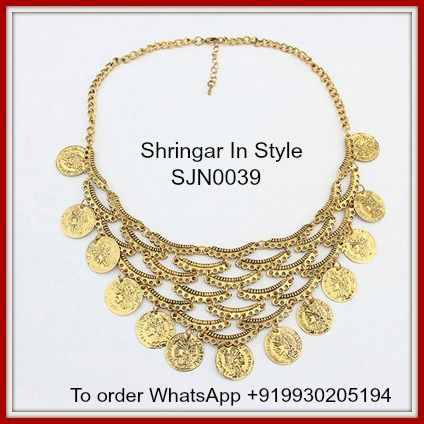 SJN0039 - Skinny Antique Gold Coins Decorated Overlapping Design Alloy Korean Necklaces. Price INR 550. Free shipping in India. International shipping at actuals. To order WhatsApp +919930205194 or write to us at shringarinstyle@gmail.com