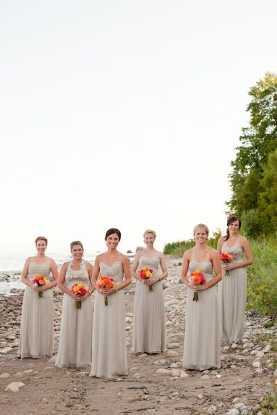 Am Bridesmaid In Champagne Color With Orange Flowers