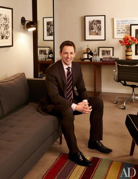Late Night host Seth Meyers, pictured in his dressing suite, enlisted the design firm Ashe + Leandro to create the show's backstage spaces at 30 Rockefeller Plaza in New York. For details see May Sources.