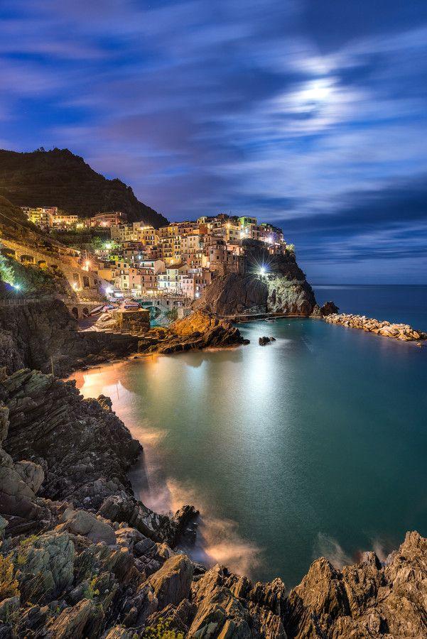 Manarola Moon - Cinque Terre, Italy by Danny Xeero