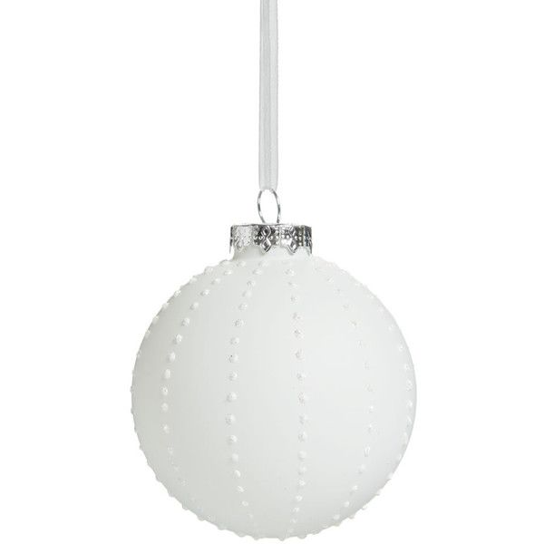 Wilko Frosted Glass Christmas Tree Bauble White With Glitter Spots ($2.00) ❤ liked on Polyvore featuring home, home decor, holiday decorations, christmas, xmas tree ornaments, christmas tree baubles, white home accessories, white home decor and white glitter christmas ornaments