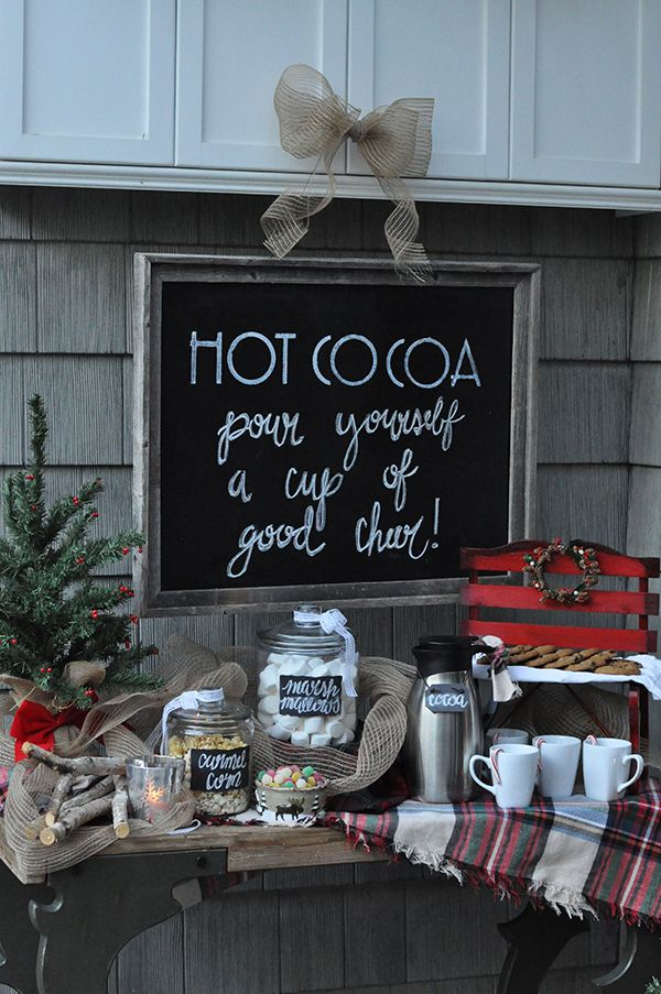 Cocoa stand at an outdoor Christmas party