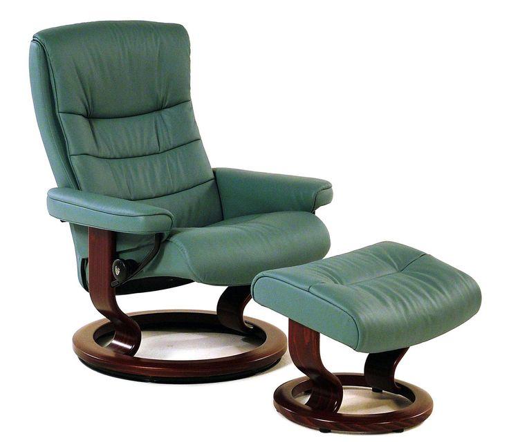 The Most Comfortable Chair Part - 46: Stressless Recliners Nordic Medium Recliner/Ottoman: Paloma Aqua U0026 Walnut  By Stressless By Ekornes