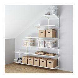 IKEA - ALGOT, Riel susp/baldas, Puedes combinar los elementos de la serie ALGOT de muchas maneras distintas según tus necesidades y el espacio de que dispongas.Ideal para colocar debajo de una escalera o en una habitación con el techo abuhardillado.Como los soportes, las baldas y otros accesorios se fijan con un simple clic, es fácil de montar, adaptar y modificar según tus necesidades.Se puede colocar en cualquier parte de la casa, incluso en zonas húmedas como el baño o en un balcón…