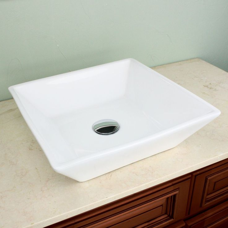 Highpoint Collection 16 Inch Square White Vessel Sink With Umbrella Drain  Set (16 Inch Square