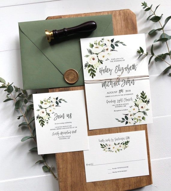 Floral Wedding Invitation Set Rustic Wedding Invitation Etsy Floral Wedding Invitations Cheap Wedding Invitations Wedding Invitation Sets