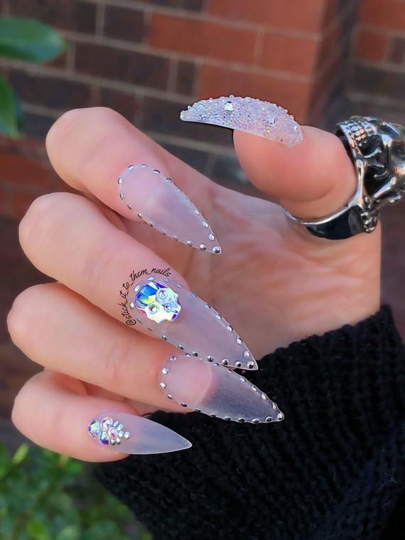 Luxury Press On Nails Swarovski Skull Gothic Clear Matte False Nails Fake Nails Custom Nails Press On Nails Fake Nails Swarovski Skull