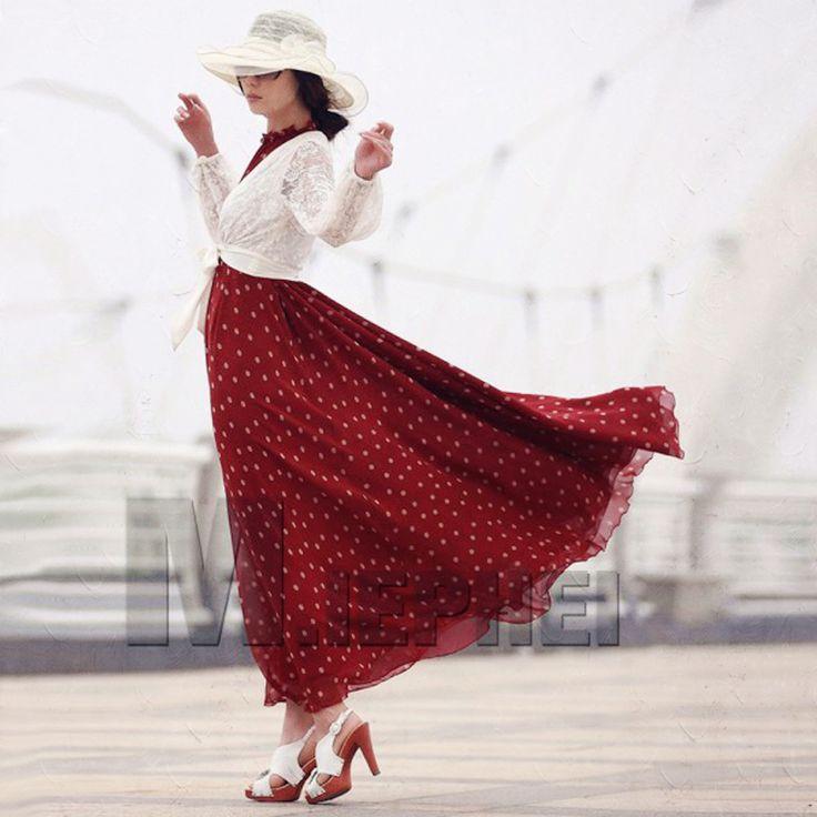 Sisjuly 2016 Mode vrouwen stippen Maxi jurk lange Casual Zomer Strand Chiffon…