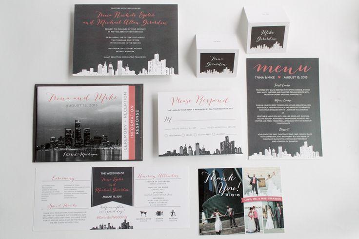 DETROIT WEDDING INVITATION SUITE  AUGUST 15TH, 2015  WATERVIEW LOFT AT PORT DETROIT  DETROIT, MICHIGAN