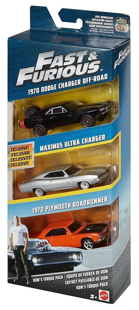 Fast and Furious Diecast Vehicle 3-Pack - Dom's Torque Pack *BRAND NEW*  #MattelUniversalStudios