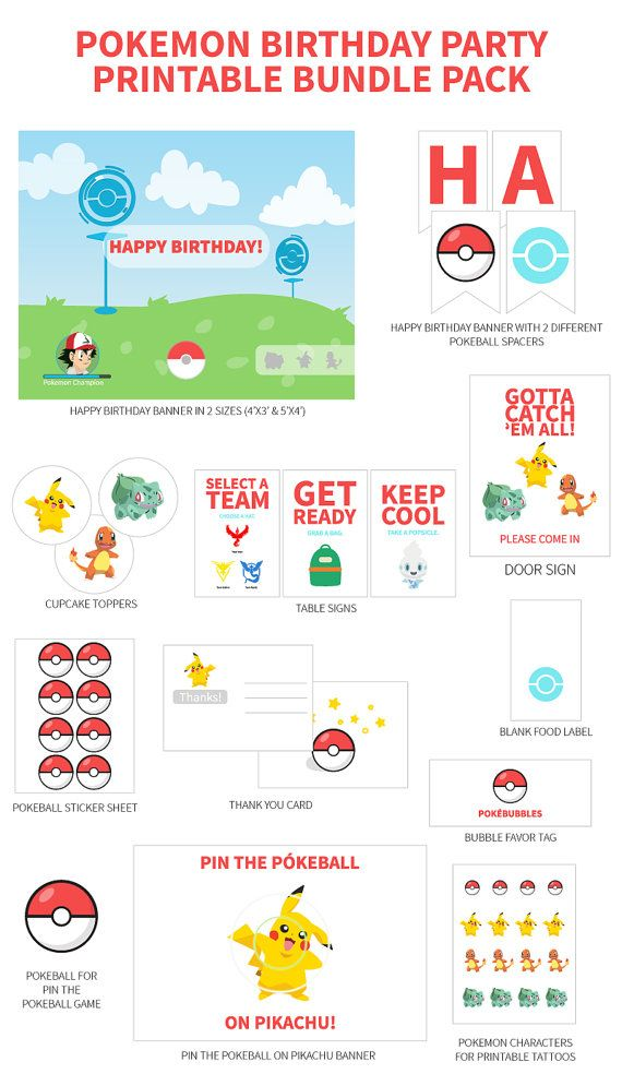 Pokemon Go Birthday Party - Printable Party Collection **This party set is over 50% off the price if you purchased the printables individually**   This listing is the ultimate collection of digital printable files for a Pokemon Go party. It includes the following items:  - 4x6 Thank-You Card (Front & Back) - Happy Birthday Banner (2 sizes: 4x3 & 5x4) - Happy Birthday Flag Banner - 2.5 Cupcake Toppers (Pikachu, Charmander, Bulbasaur) - 4x6 Table Signs (Select A Team, Get Ready & Keep Cool)…
