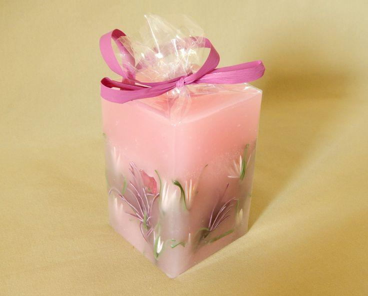 Pink handmade aromatic candle - ροζ χειρποίητα αρωματικά κεριά