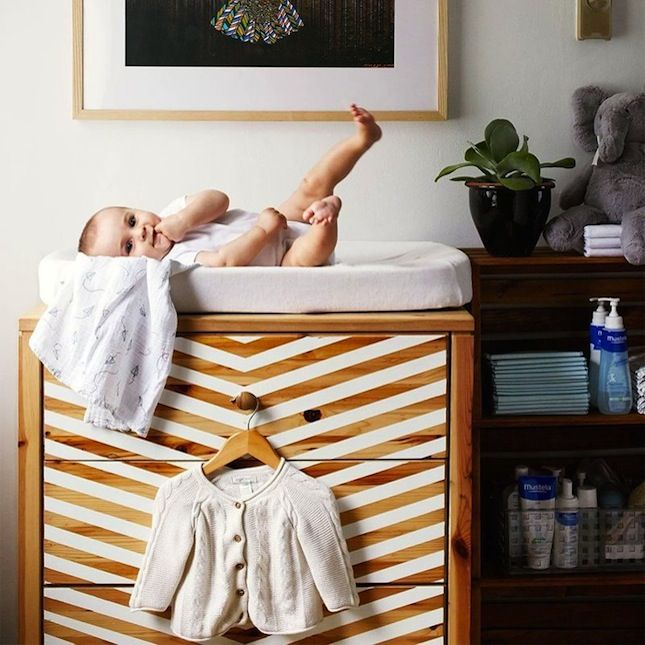 I could use a few of these ikea hack ideas in J's new room (or for future kiddos) - change table/storage dresser ideas are great. Also love the black and white play gym!