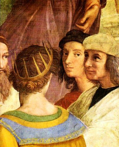 "RAFAEL SANZIO - ""A Escola de Atenas"" - Zoroaster, ptolomeu, Rafael e Sodoma 1509-10, larg 770 cm, afresco, Stanza della Segnatura Vaticani, Roma.    Veja mais: http://www.auladearte.com.br/historia_da_arte/rafael.htm#ixzz30IWwvDpX Under Creative Commons License: Attribution Share Alike"