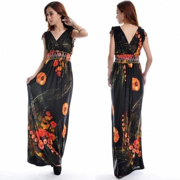 Sexy V-Neck Sleeveless High Waist Print Stretch Maxi Dress Summer Beach Wear