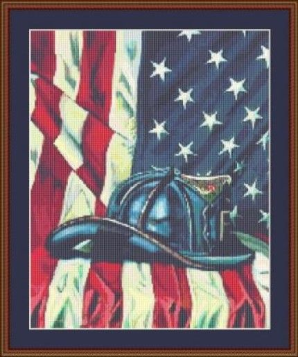 Firemans Hat Counted Cross Stitch Pattern Free Shipping PDF No 348