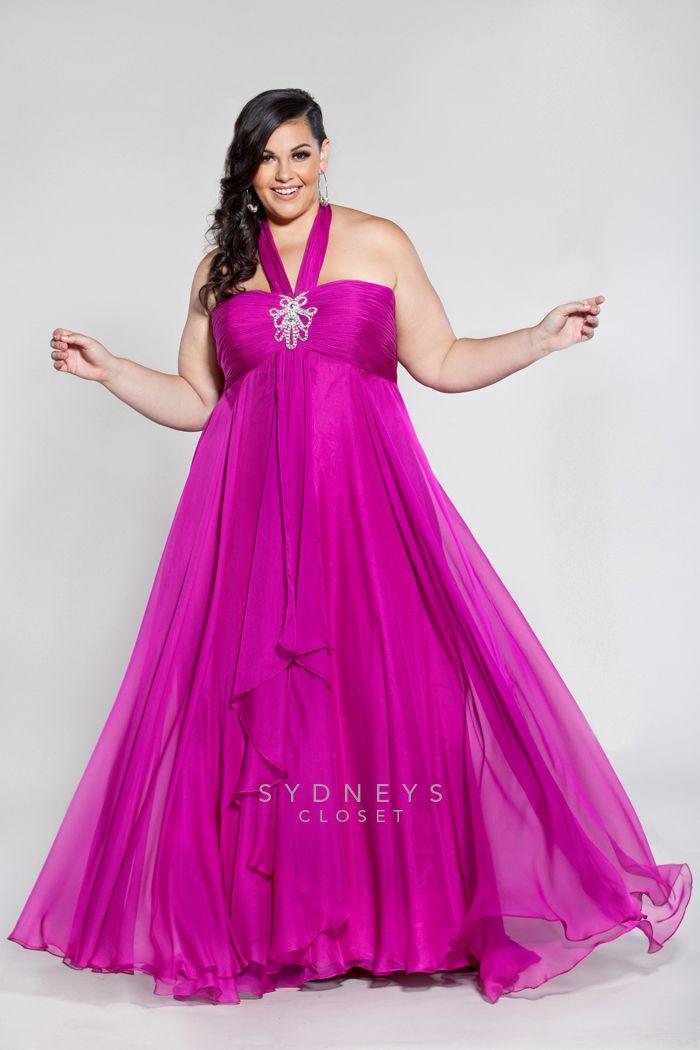 Plus Size Chiffon halter dress with empire waist