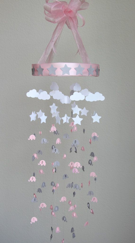 Pink And Gray Elephant Mobile Baby Crib Mobile Crib By