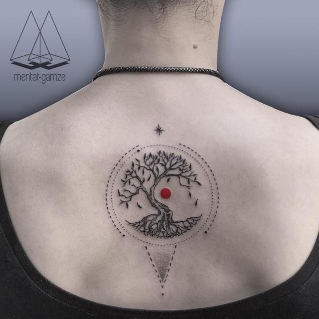 Amazing Minimalist Black & Red Dot Ink Tattoos by Mentat Gamze. FunPalStudio Illustrations, Entertainment, beautiful, creativity, nature, drawings, paintings, Art, Artwork, Artist, fashion, tattoo art, tattoo designs.