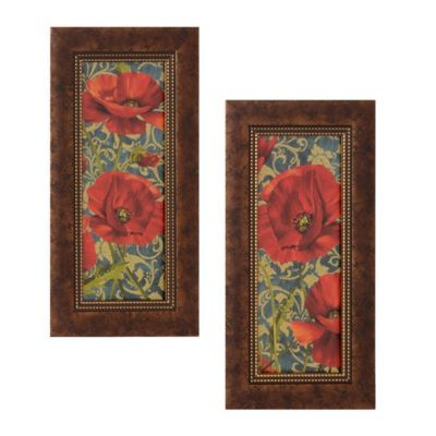 Poppies On Teal Framed Art Print, Set of 2 | Kirkland's