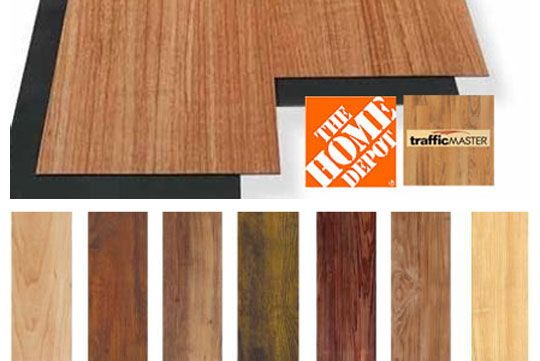 Trafficmaster Allure vinyl plank flooring from Home Depot is water resistant, so it can be used in a bathroom, and it starts at $1.59 per square foot. Not sure if they look super cheap, though.