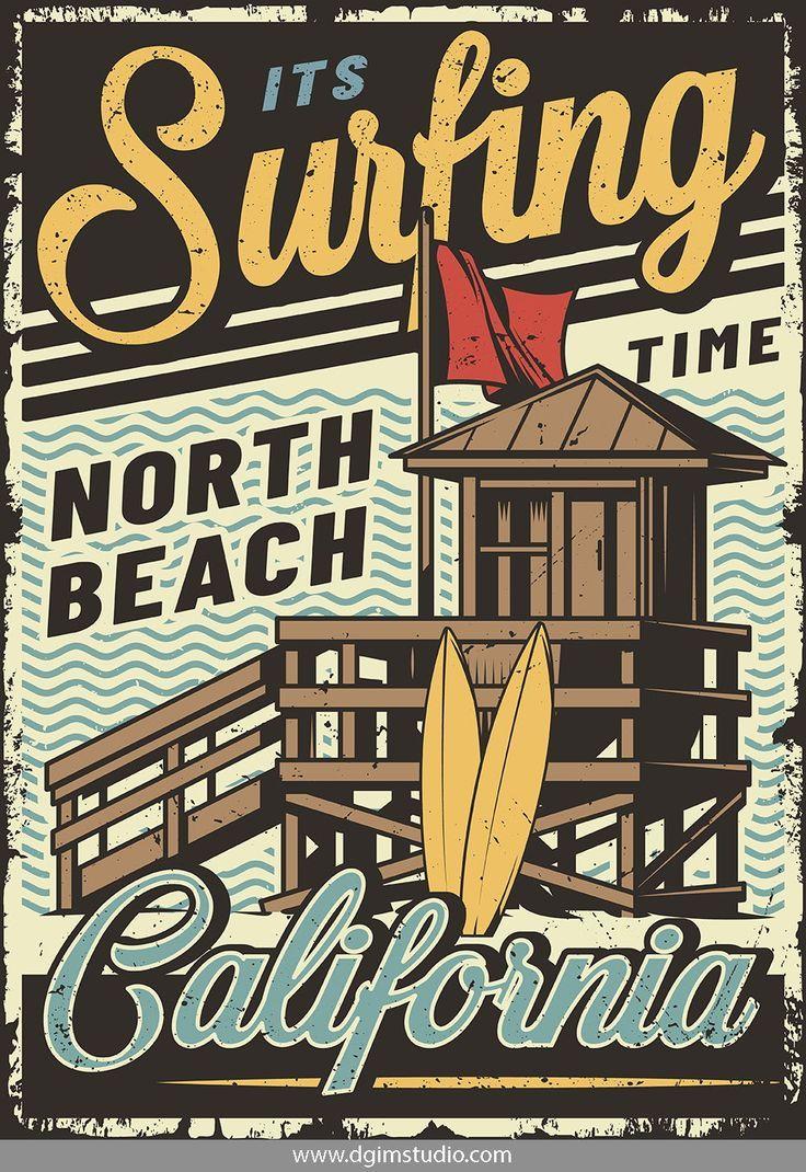 Vintage Surfing Emblems Vintage Surf Vintage Poster Design Surf Poster