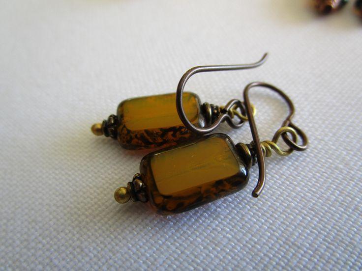 Little Golden Yellow Czech Glass Earrings Lightweight Picasso Glass Earrings Lovely Unique Yoga Earrings Hypoallergenic Niobium French Hooks by suncatchersforears on Etsy