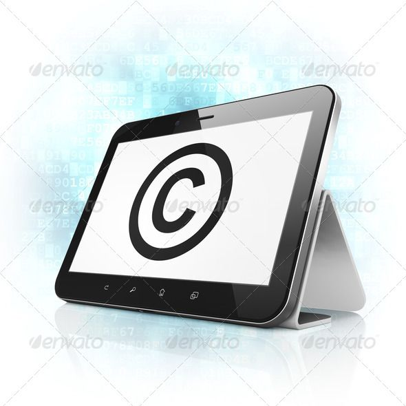 Law concept: Copyright on tablet pc computer ...  3d, abstract, author, black, blue, business, c, computer, concept, confidential, copyright, court, data, defend, digital, digital background, family, human, icon, information, insurance, international, justice, law, legal, license, mark, ownership, pad, patent, pc, pda, piracy, portable, property, protect, register, reservation, reserved, right, rules, stand, symbol, tablet, technology, touch, touchpad, trade, trademark
