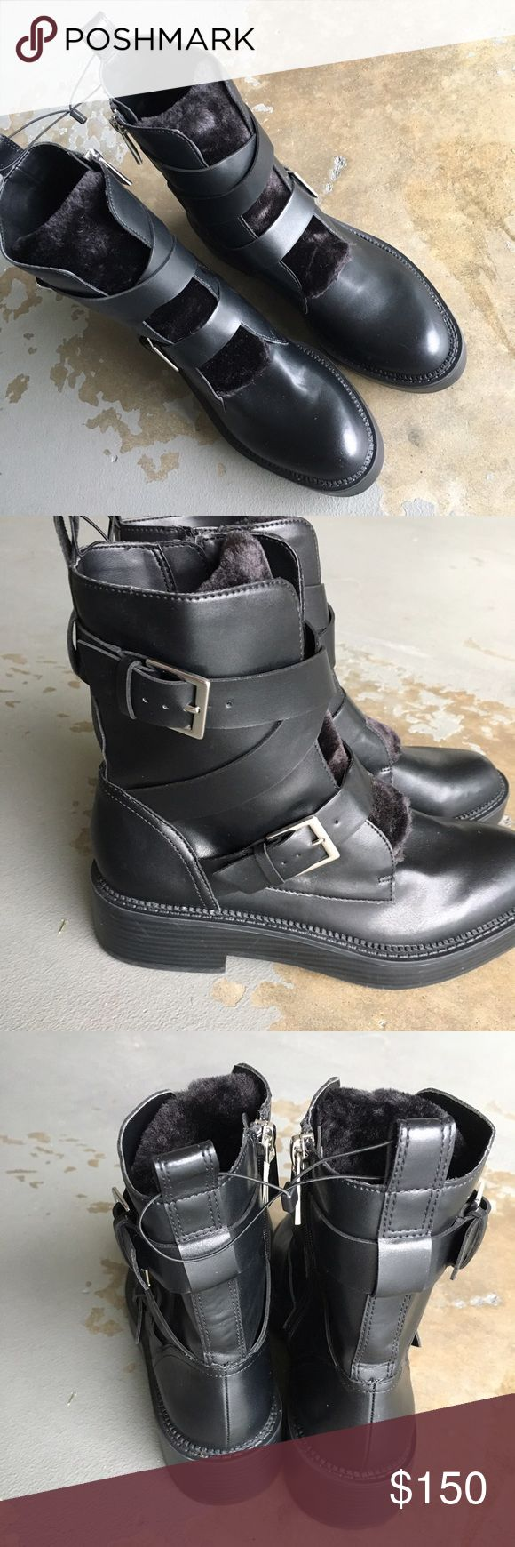 🚨Zara Moto Combat Fur Boots Brand new, never used and still tagged together. Tough but cute boots great for denim or dresses. Size 37 = 7 Zara Shoes Combat & Moto Boots