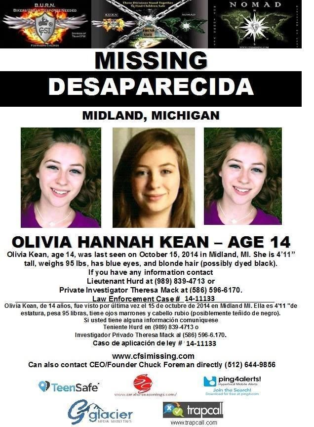 Missing 15 Year Old Girl Found: 10/15/2014: Olivia Kean, Age 14, Is #missing From Midland