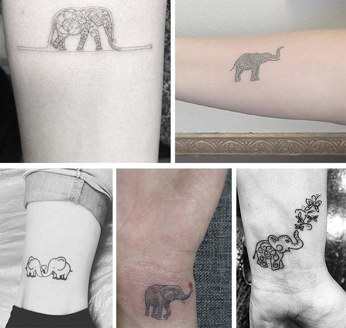 Cute Small Tattoos For Girls With Their Meanings: Tiny Elephant Tattoos