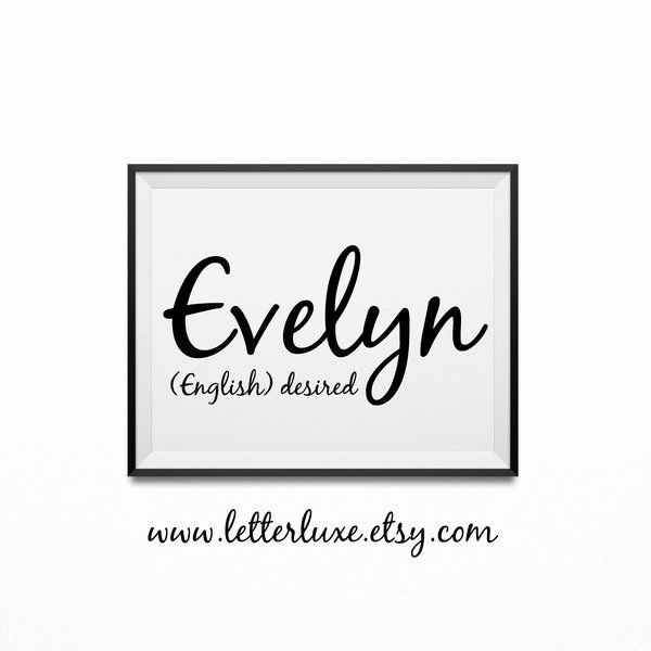 Evelyn Name Meaning Poster Printable Nursery Art Baby Wall Decor | Wooden Letter Nursery Decor & Inspirational Art Prints