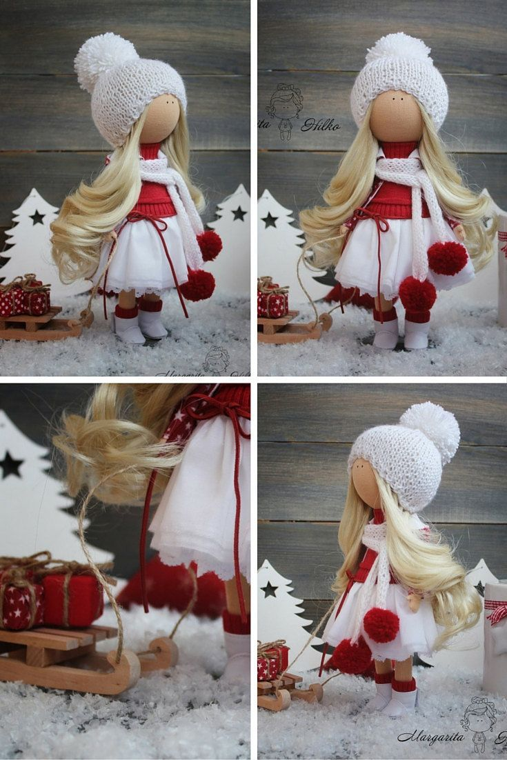 Decor doll handmade white red christmas doll by AnnKirillartPlace