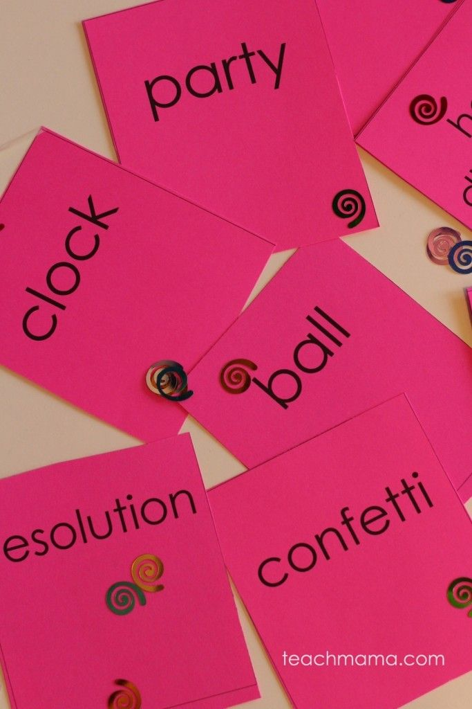 new years eve guess the word game --> kids are thinking, planning, and guessing the word related to new year's eve!