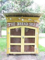 this shed houses our community bake oven.  designed by leah houston, built by james davis