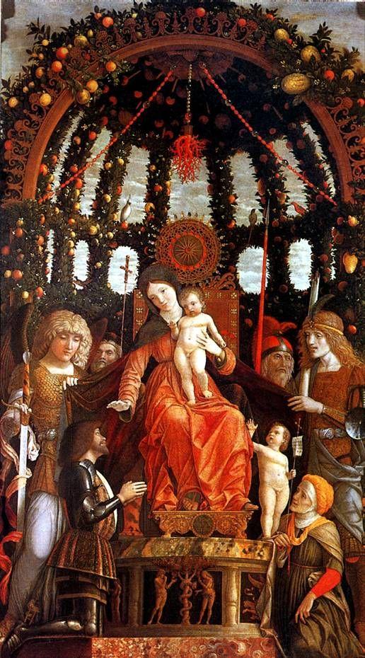 МАНТЕНЬЯ. Мадонна с младенцем в окружении шести святых,  с донатором Джанфранческо II Гонзага, известная  как Мадонна делла Витториа, 1495.   Изола-ди-Картура (Венето), 1431 — Мантуя, 1506   Холст, 285 х 168 см. Поступила в Лувр в 1798 г.
