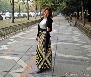 Geometric pattern maxi skirt