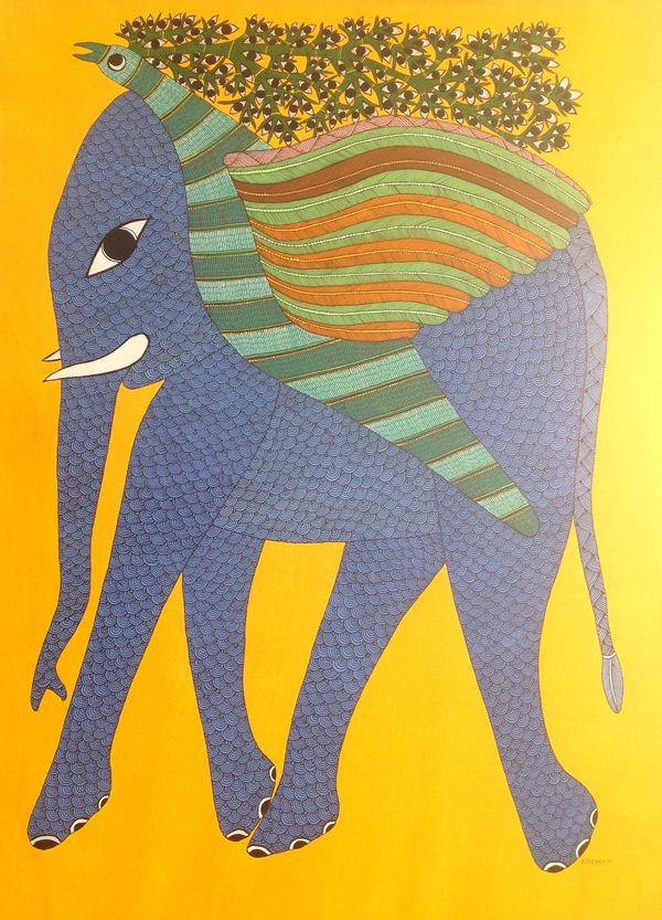 Title: Udta Hathi Size: 24'' x 41'' Artist: Rajendra Shyam Price: Rs. 45000/-