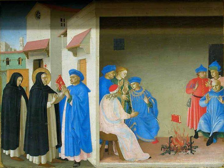 Fra Angelico, predella dell'incoronazione della vergine del louvre, storie di san domenico, 1434-35 No  05 disputa di san domenico.