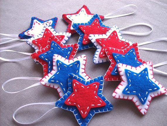 10 patriotic star ornaments, patriotic decor, felt stars, felt ornaments, fourth of july, july 4th, americana, american decorations, USA