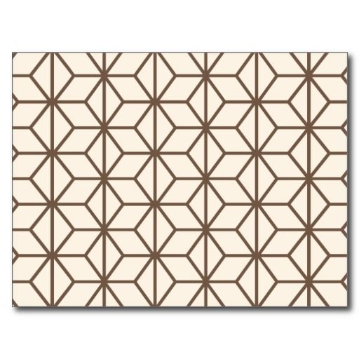 Brown and beige geometric art-deco pattern postcard | Art ...