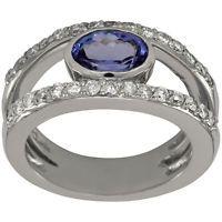Tanzanite Ring With Oval Tanzanite Gemstone With Diamonds In Split Shank Ring