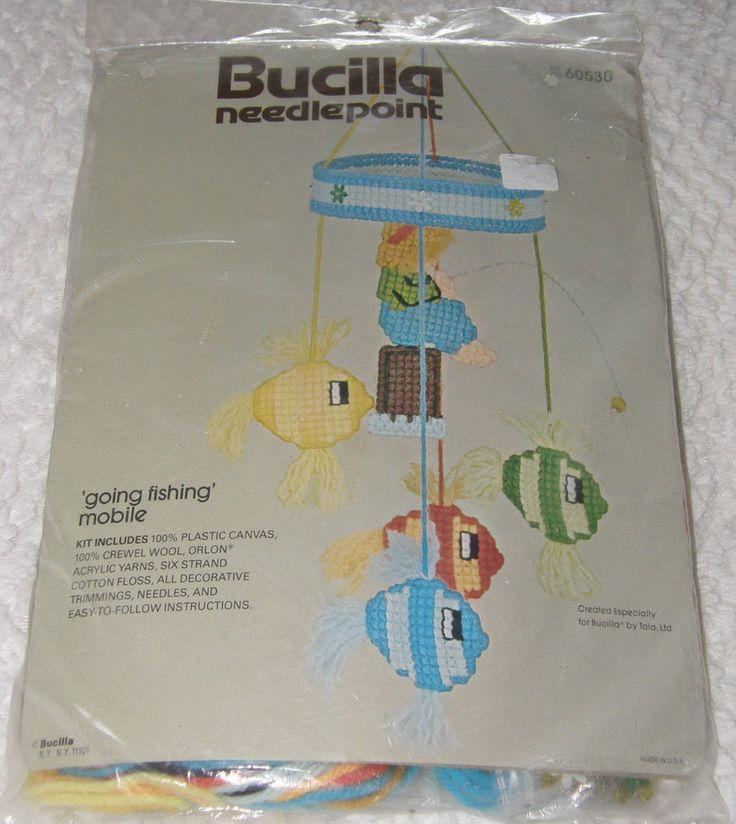VTG Bucilla Needlepoint BABY Going Fishing Canvas Crib Mobile Craft Kit Sealed #Bucilla