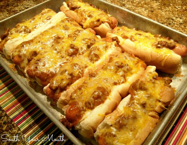 South Your Mouth: Baked Chili Cheese Dogs. Sometimes, you just gotta have a great chilli cheese dog; this is it!