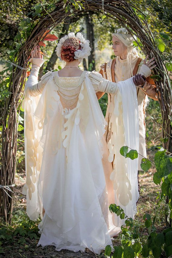 Elven fantasy wedding dress and mail costume