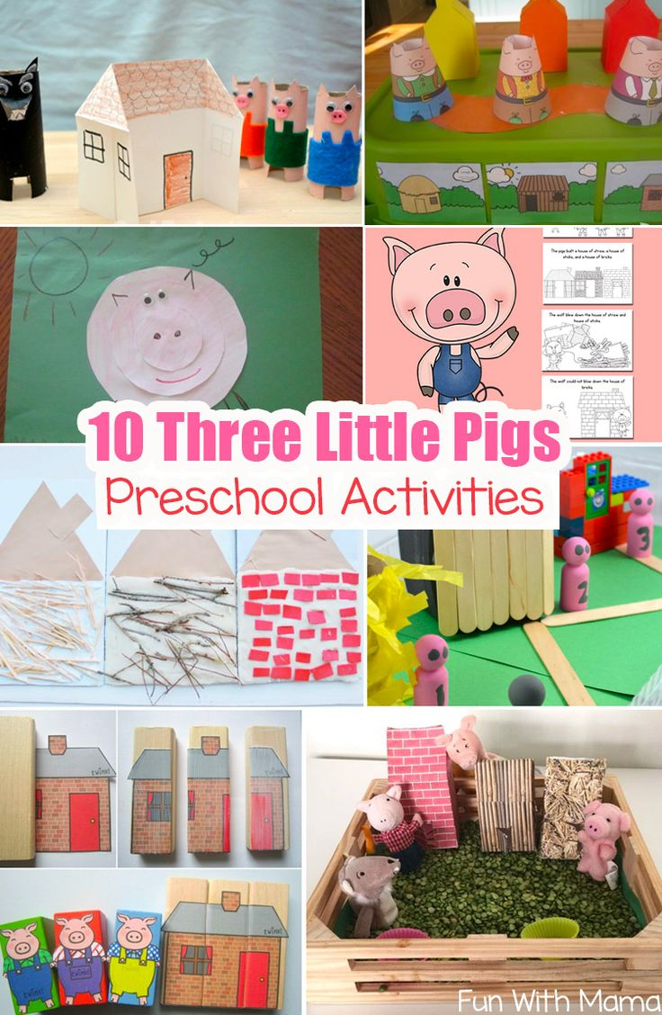 10 Three Little Pigs Theme Preschool crafts, activities and printables are perfect to bring this fairytale to life. Toddlers will love sequencing and storytelling. via @funwithmama