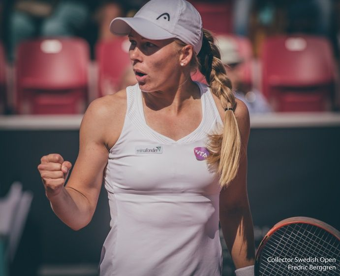 7/16/15 Local fave Johanna Larsson into QFs of #CollectorSwedishOpen with win over Anna-Lena Friedsam 6-3, 7-5.