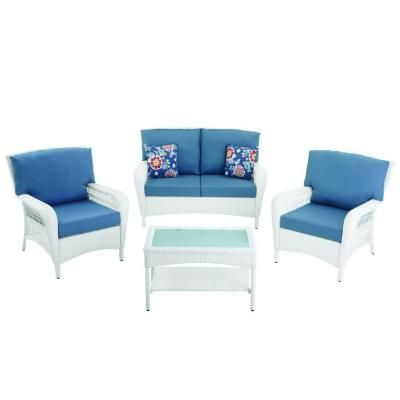 Martha Stewart Living Charlottetown White All Weather Wicker Patio Lounge  Chair With Washed Blue Cushion