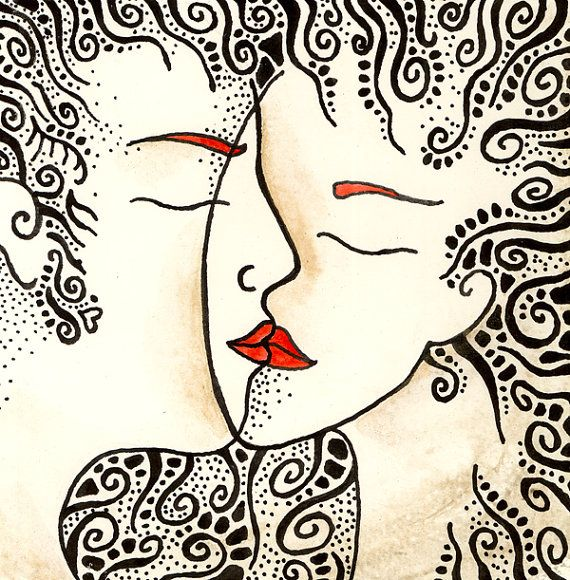 Romantic drawing art print  'Kiss'  by Siret Roots, €20.00  www.siretroots.com